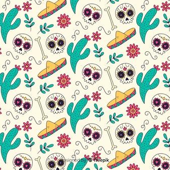 Handgezeichnete día de muertos muster