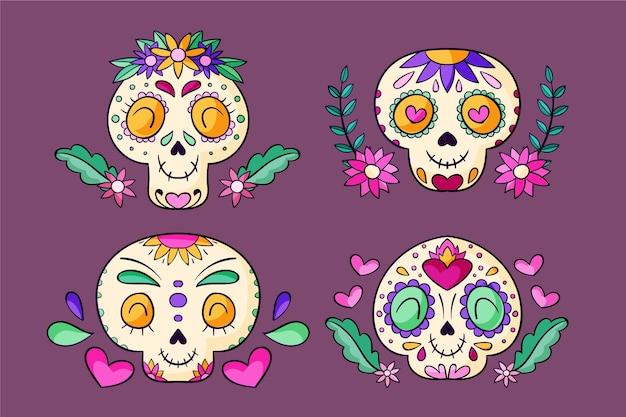 Handgezeichnete dia de muertos schädelsammlung