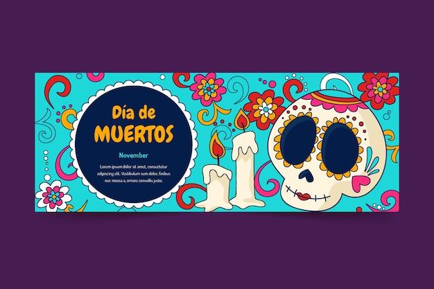 Handgezeichnete dia de muertos social-media-cover-vorlage