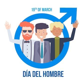 Handgezeichnete dia del hombre illustration