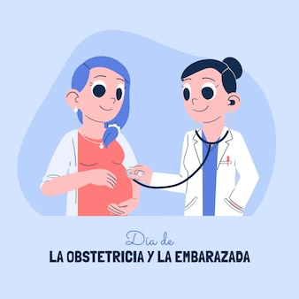 Handgezeichnete dia internacional de la geburtshilfe y la embarazada illustration