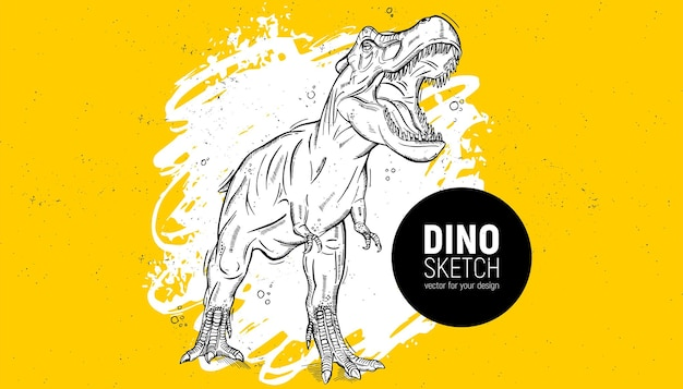 Handgezeichnete dinosaurier-skizze. tyrannosaurus