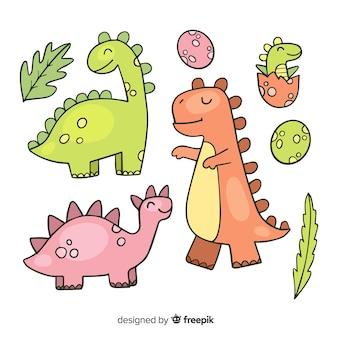 Handgezeichnete dinosauriersammlung