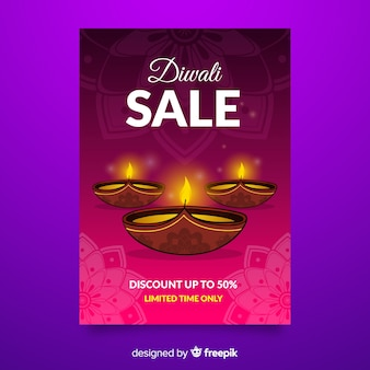 Handgezeichnete diwali verkauf flyer vorlage