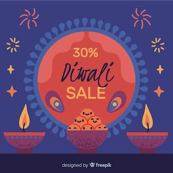 Handgezeichnete diwali verkauf mit 30% rabatt