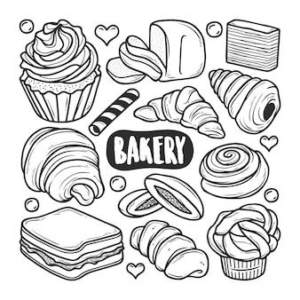 Handgezeichnete doodle-färbung der bäckerei-ikonen