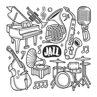 Handgezeichnete doodle-färbung der jazz-ikonen