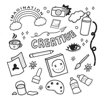 Handgezeichnete doodle-färbung der kreativen symbole