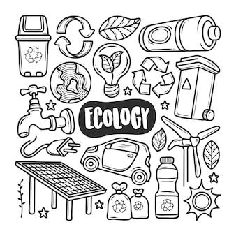 Handgezeichnete doodle-färbung der ökologie-symbole