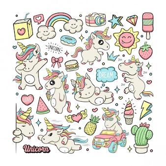Handgezeichnete doodle-farbe der einhörner