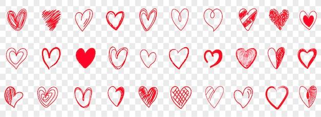 Handgezeichnete doodle-herzen. doodle rote liebesherzen icons set. sammlung illustrierter herzsymbole