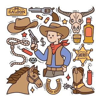 Handgezeichnete doodle-illustration des wilden westens