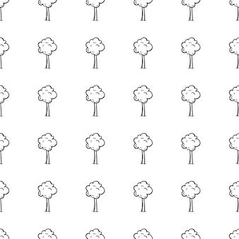 Handgezeichnete doodle nahtlose muster baumsymbol. handgezeichnete schwarze skizze. zeichen-symbol. dekorationselement. weißer hintergrund. isoliert. flaches design. vektor-illustration.