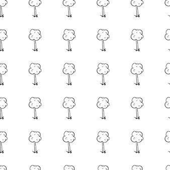 Handgezeichnete doodle nahtlose muster baumsymbol. schwarze skizze. zeichen-symbol. dekorationselement. isoliert auf weißem hintergrund. flaches design. vektor-illustration.