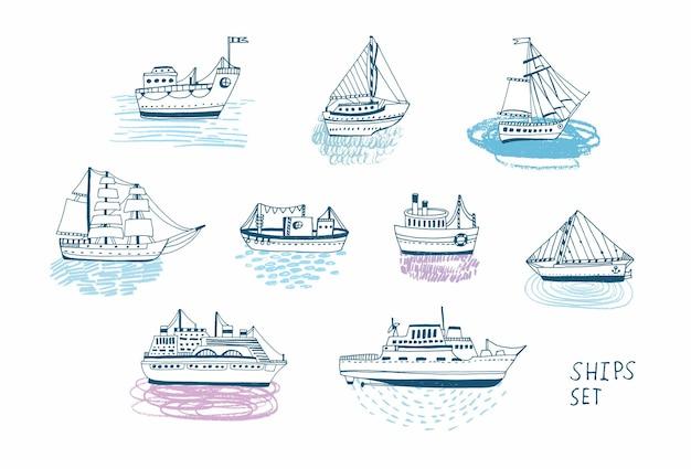 Handgezeichnete doodle-schiffe eingestellt. bunte illustrationen-sammlung.
