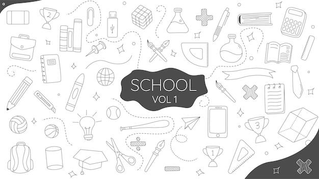Handgezeichnete doodle school vol1 premium