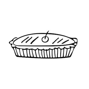 Handgezeichnete doodle traditionelle torte mit kirsche an der spitze