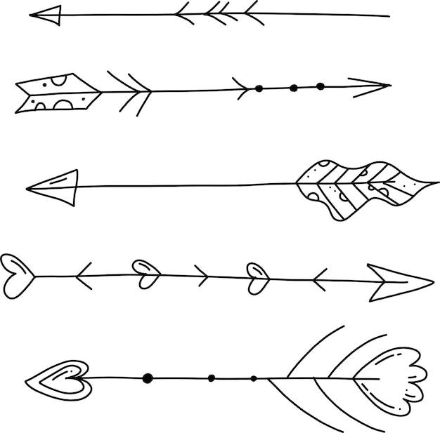 Handgezeichnete doodle-vektor-pfeile