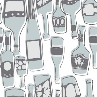 Handgezeichnete einfache verschiedene glasflaschentapete. nahtloser musterhintergrund mit barflaschen. vektor-illustration