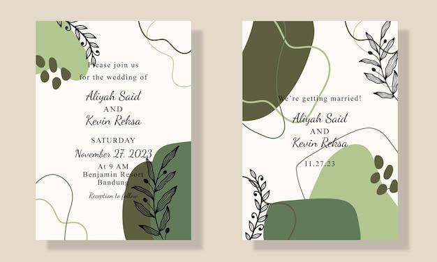 Handgezeichnete einladungskarte mit blatt
