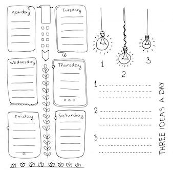 Handgezeichnete elemente des aufzählungsjournals für notizbuch, tagebuch und planer. gekritzelbanner lokalisiert auf weißem hintergrund. wochentage, notizen, liste, rahmen, teiler.