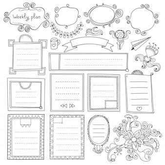 Handgezeichnete elemente des aufzählungsjournals für notizbuch, tagebuch und planer. gekritzelbanner lokalisiert auf weißem hintergrund. wochentage, notizen, liste, rahmen, trennwände, bänder, blumen.