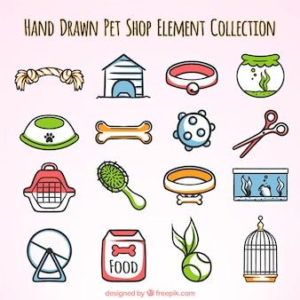Handgezeichnete elemente für eine zoohandlung