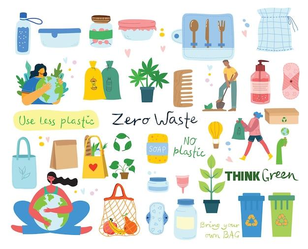 Handgezeichnete elemente von zero waste life im vektor. öko-stil. kein plastik. gehen sie im flachen stil grün
