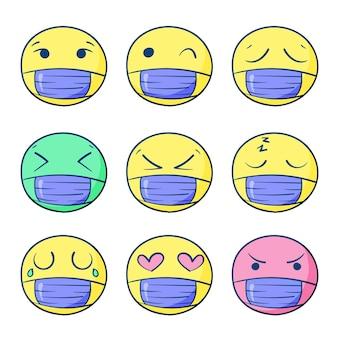 Handgezeichnete emojis mit gesichtsmaske