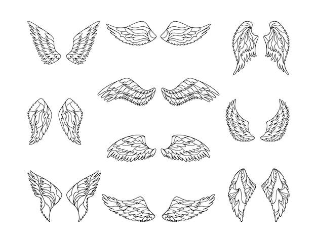Handgezeichnete engelsflügel im skizzenstil.