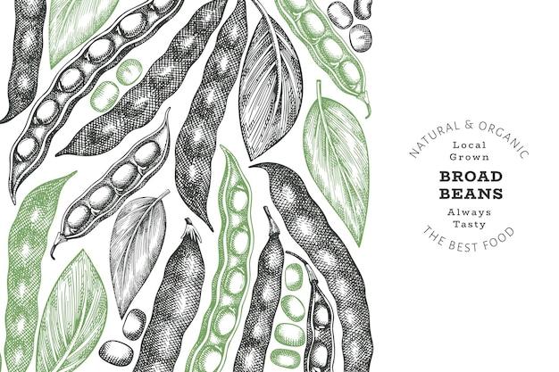 Handgezeichnete entwurfsvorlage für saubohnen