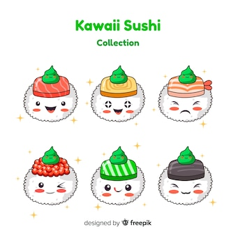 Handgezeichnete entzückende sushi mit wasabi-sammlung