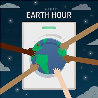 Handgezeichnete erdstundenillustration mit händen, die planeten berühren