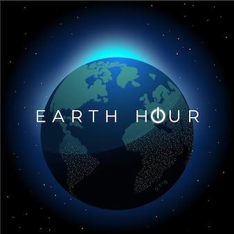 Handgezeichnete erdstundenillustration mit planet erde