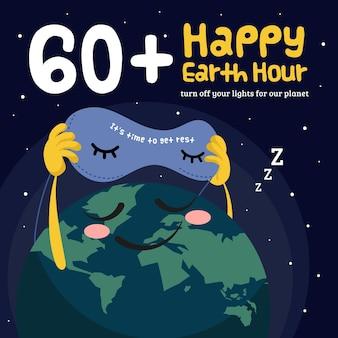 Handgezeichnete erdstundenillustration mit planet und schlafmaske
