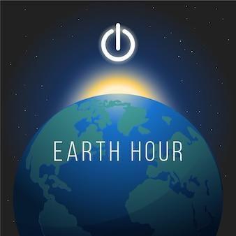 Handgezeichnete erdstundenillustration mit planet
