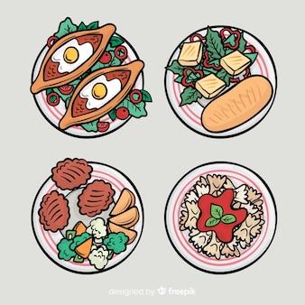 Handgezeichnete essen gerichte sammlung