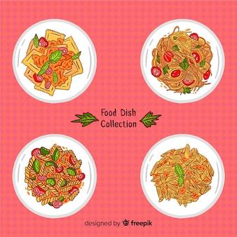 Handgezeichnete essen gerichtssammlung