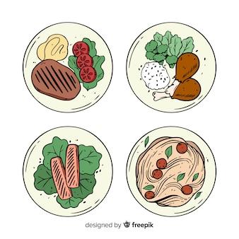 Handgezeichnete essen geschirr pack