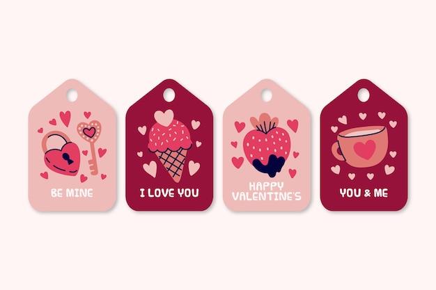 Handgezeichnete etikettensammlung zum valentinstag