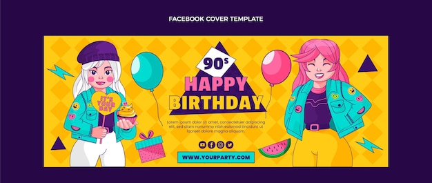 Handgezeichnete facebook-cover-vorlage zum geburtstag der 90er jahre