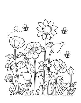 Handgezeichnete färbung gartenblumen