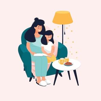 Handgezeichnete familienillustration mit essen