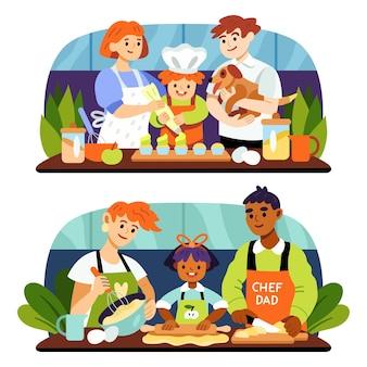 Handgezeichnete familienkochillustration