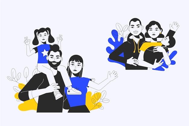 Handgezeichnete familienszenenillustration