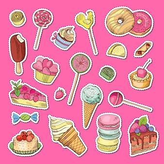 Handgezeichnete farbige süßigkeiten aufkleber.