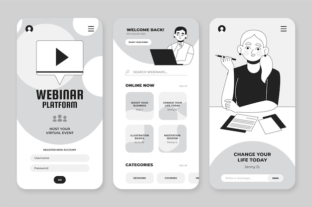 Handgezeichnete farblose apps-sammlung für smartphones