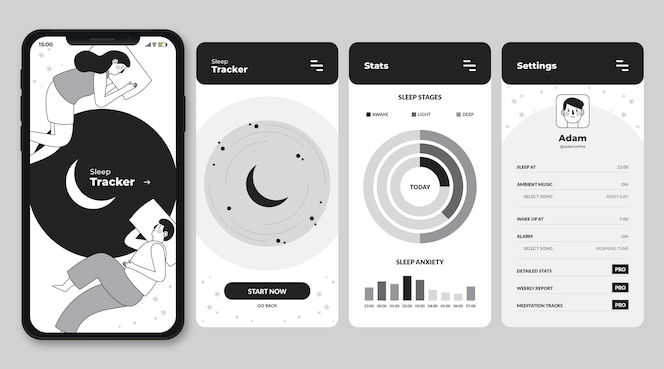 Handgezeichnete farblose apps