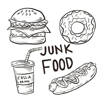 Handgezeichnete fast-food-ikone