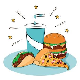 Handgezeichnete fast-food-illustration